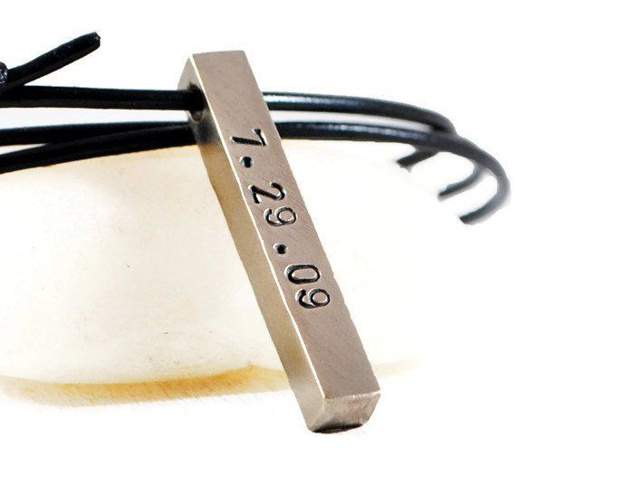 Personalized Four Sided Brass Bar Necklace.