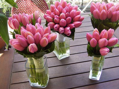 pretty tulips: Centerpiece, Wedding Ideas, Wedding Bouquets, Weddings, Tulip Bouquet, Flowers, Pink Tulips, Favorite Flower