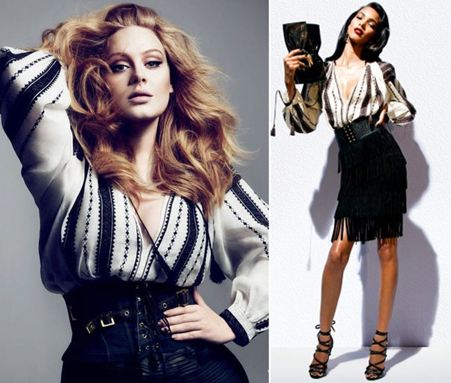 Adele wearing a Tom Ford blouse inspired by #LaBlouseRoumaine #RomanianBlouse - for Vogue photoshoot
