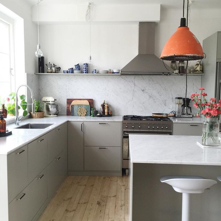 A pop of color in the lighting of this kitchen