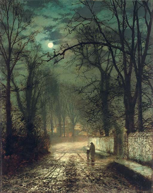 John Atkinson Grimshaw (1836-1893) A moonlit lane, signed and dated 'Atkinson Grimshaw 1874' (lower left) oil on card, 21½ × 16¾ in. (54.6 × 42.5 cm.) Lot Notes: During the 1870s Grimshaw developed a reputation for depicting suburban lanes in autumn, where moonlight was filtered by an ever changing cloudscape. Whistler, a close friend of the artist, later noted: 'I considered myself the inventor of nocturnes, until I saw Grimmy's moonlight pictures'.