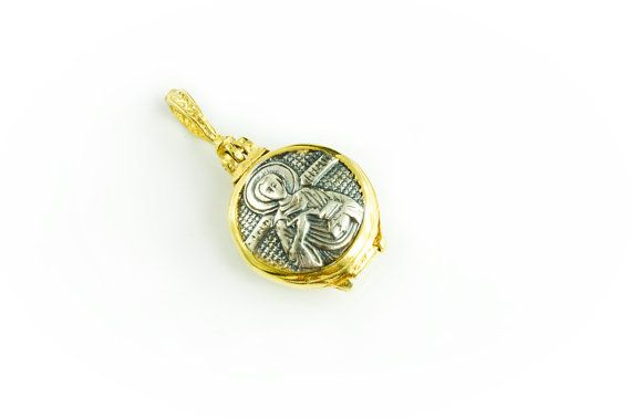 Saint Pantaleon 925. Sterling Silver / Gold Plated  Holy Wood