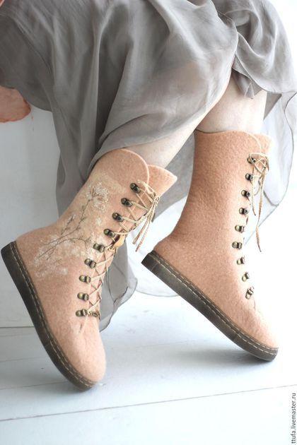 """Обувь ручной работы. Ярмарка Мастеров - ручная работа. Купить Очень теплые ботинки """"СНежность"""". Handmade. Кремовый, шерсть"""