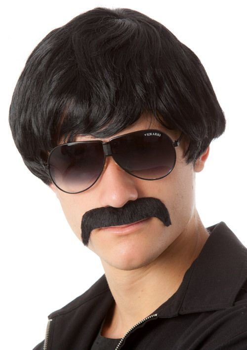 70's Detective Black Mod Costume Wig & Moustache Set Great short black mens 70's Mod costume wig and handlebar moustache set.  This cool black 60's, 70's mod style wig makes a perfect mens brown costume wig!  Great also for a pop star wig or beatles or sonny (and cher) costume wig!  The high quality fibre is so amazingly soft and sits comfortably on your head. www.thewigoutlet.com.au