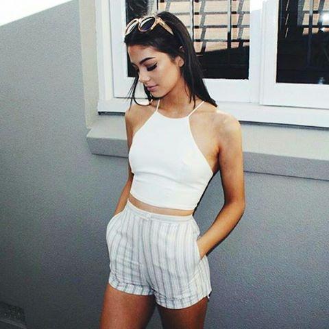 @isabella_fiori wears the Istan Stripe Shorts http://saboskirt.com/shop/product/istan-stripe-shorts
