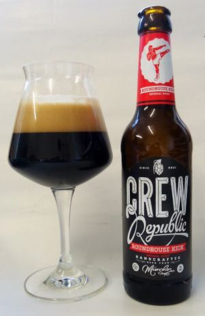 CREW Republic Roundhouse Kick Imperial Stout -- Smell of tar, licorice, roasted malt. Black colour, dark brown head. Aroma of licorice, coffee, tar. Very bitter, also sweet. Soft but plentiful carbon. Oily texture, very heavy body. Very good.