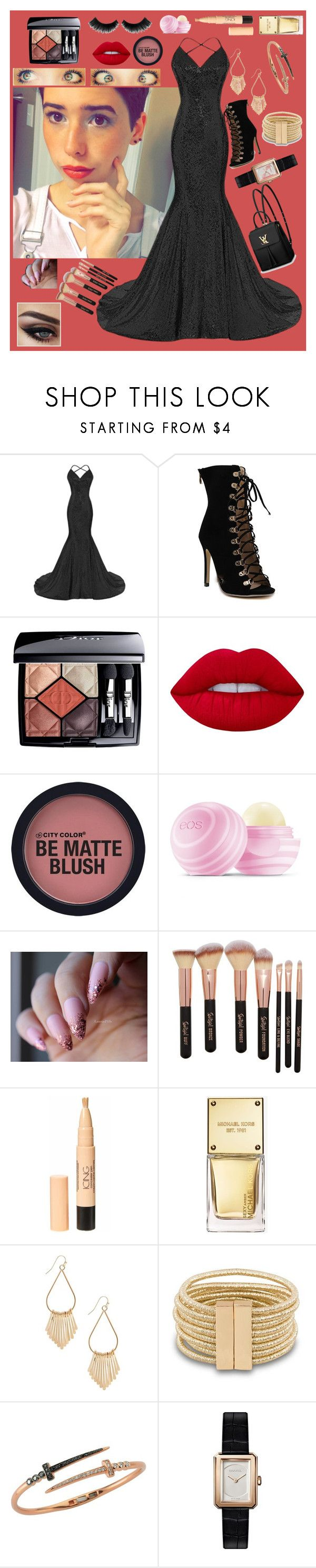 """""""Just Prom"""" by dead-dandelion-girl ❤ liked on Polyvore featuring Christian Dior, Lime Crime, Eos, Michael Kors, Bee Goddess, Chanel and Louis Vuitton"""