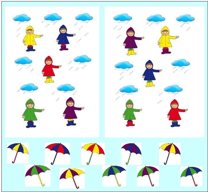 Keresd meg a kislányok esernyőjét színek szerint!