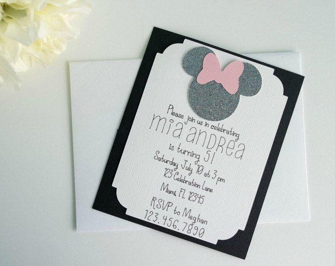 Inviti Minnie Mouse invito oro Minnie Mouse oro e rosa
