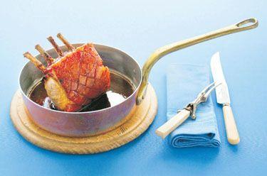 Cognac-glazed roast pork rack with sage