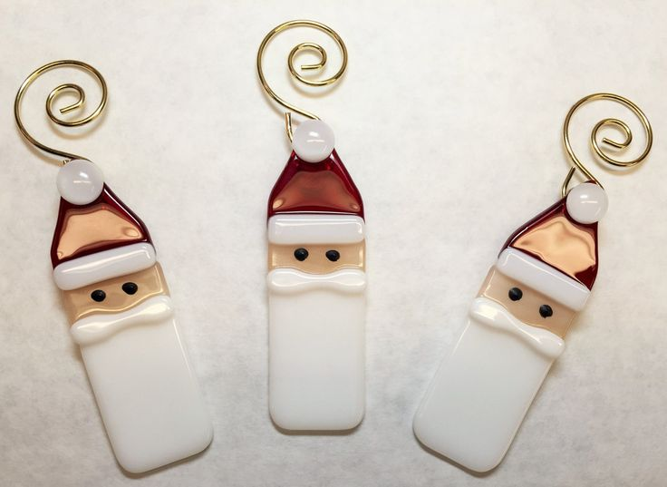 Fused Glass Santa Ornaments, Set of 3 by stainedglasswv on Etsy https://www.etsy.com/listing/168547692/fused-glass-santa-ornaments-set-of-3