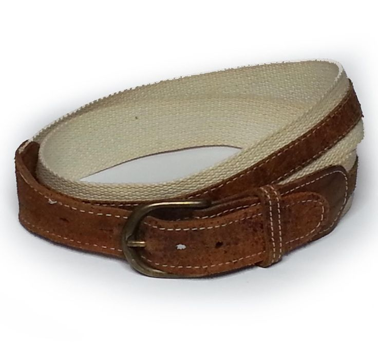 "#ebay Men's Canvas belt size 32 leather ends leather strip  1.25"" width withing our EBAY store at  http://stores.ebay.com/esquirestore"