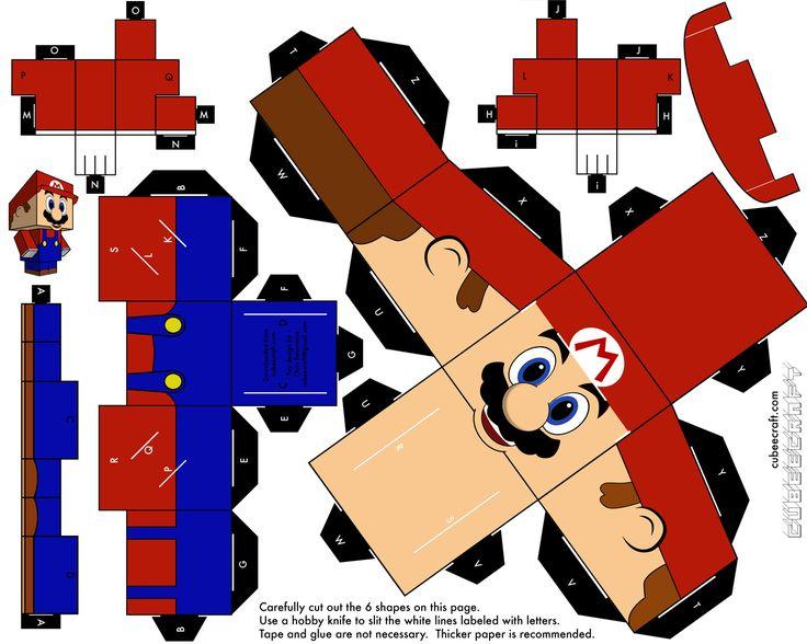 cuber craft(muñeco de papel)solo de mario bros