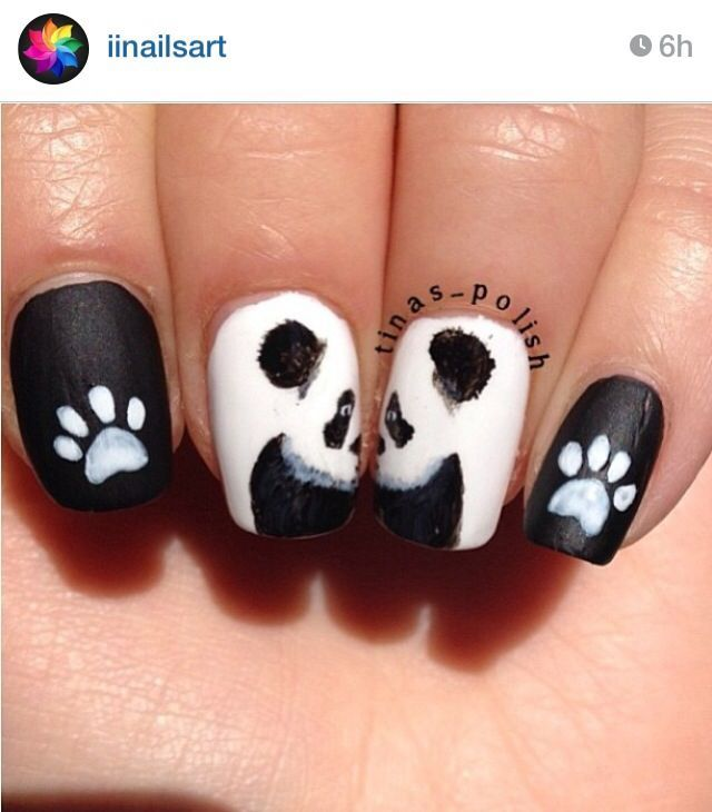25 Cute Panda Nail Art Designs Nails Pinterest And