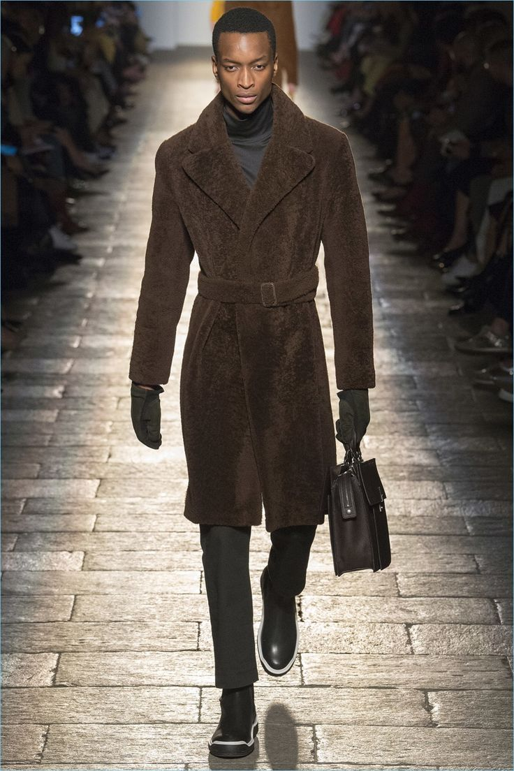 The belted coat shines as a hero piece for Bottega Veneta's fall-winter 2017 collection.