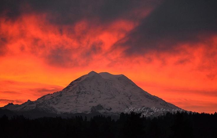 Graham Wa Weather >> Sunrise on Mount Rainier as seen from Graham, Washington. Image courtesy of Kathy Yates, used ...