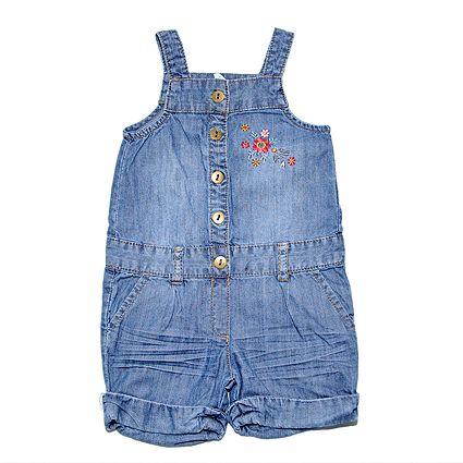 Peto Niña - 3-6 m Peto vaquero de H Pantalón corto y tirantes, de algodón ligerito y bordado de flores en el pecho.#peto #jeans #niña #trueque