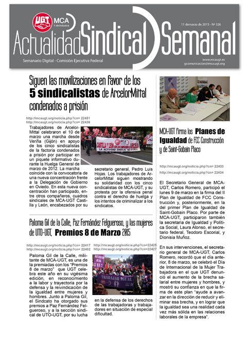 Ha salido Actualidad Sindical Semanal 326 http://mcaugt.org/noticia.php?cn=22458