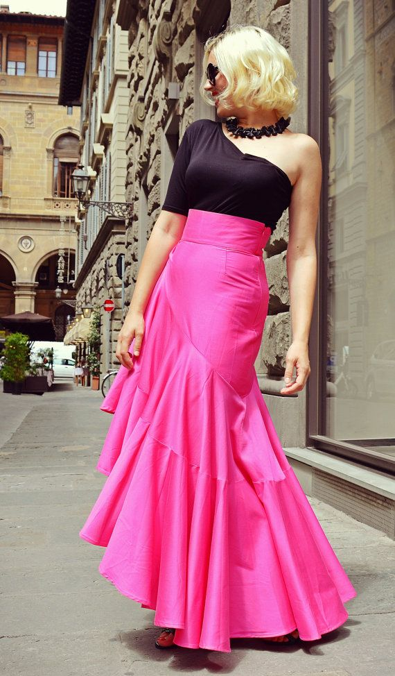 Extravagant Fuchsia Skirt / Fabulous Cotton Skirt / Flared Fuchsia Skirt / Funky Asymmetrical Skirt TS12
