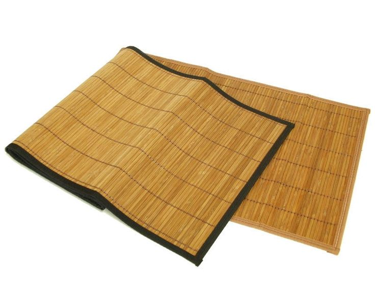Brown Natural Bamboo Table Runners W/ Black Edge Trim 13x48 Linen