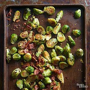 Bring on the bacon! Brussels sprouts become a crowd favorite when they're smothered in balsamic and topped with homemade bacon bits./