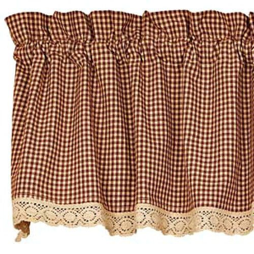 New Primitive Country Gingham Burgundy Tan Check LaceTrim Curtain Window  Valance