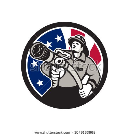 Icon retro style illustration of American firefighter or fireman holding a fire hose front view with United States of America USA star spangled banner or stars and stripes flag inside circle isolated   #firefighter #icon #illustration