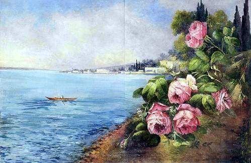 """Osman Nuri Paşa'nın natürmort ile peyzajı birleştirdiği """"İstanbul"""" adlı yapıtı. #osmannuripaşa #artist #artwork #art #fineart #ottomanartist #ottoman"""