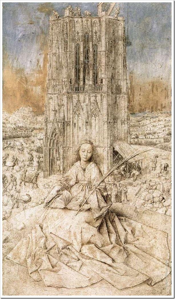 Ян ван Эйк. Святая Варвара. 1437 г. Королевский Музей изящных искусств, Антверпен