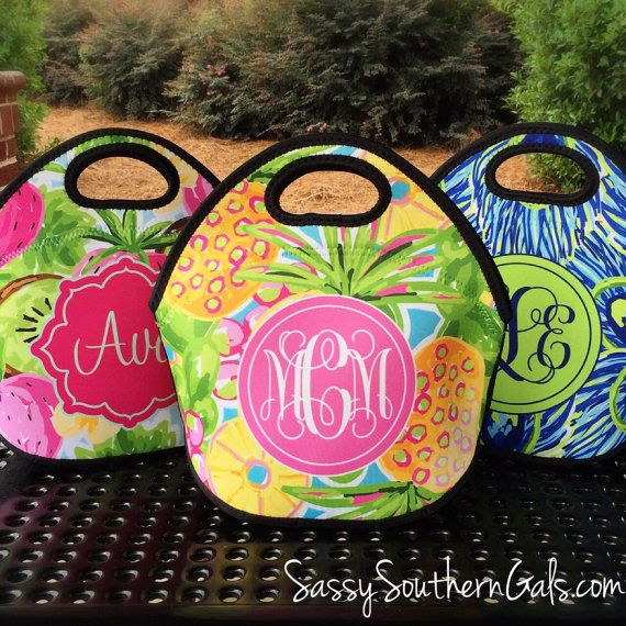 Monogrammed Lunchbox Monogrammed Lunch Bags by SassySouthernGals