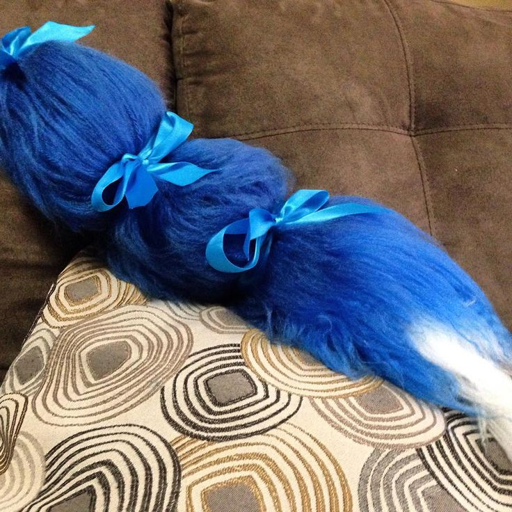 Blue brushed acrylic yarn fox tail. Made this for a Halloween costume today. I might consider adding these to my etsy store at some point. A little late for the Halloween season though. I could custom make these too. This one is themed after a blue fox named Krystal from the Starfox franchise who I will be parading around as on Halloween  #yarn #tail #furry #fur #furtail #costume #blue #krystal #starfox #videogames #fox #favoritecharacter #halloween #halloweencostume #foxtail