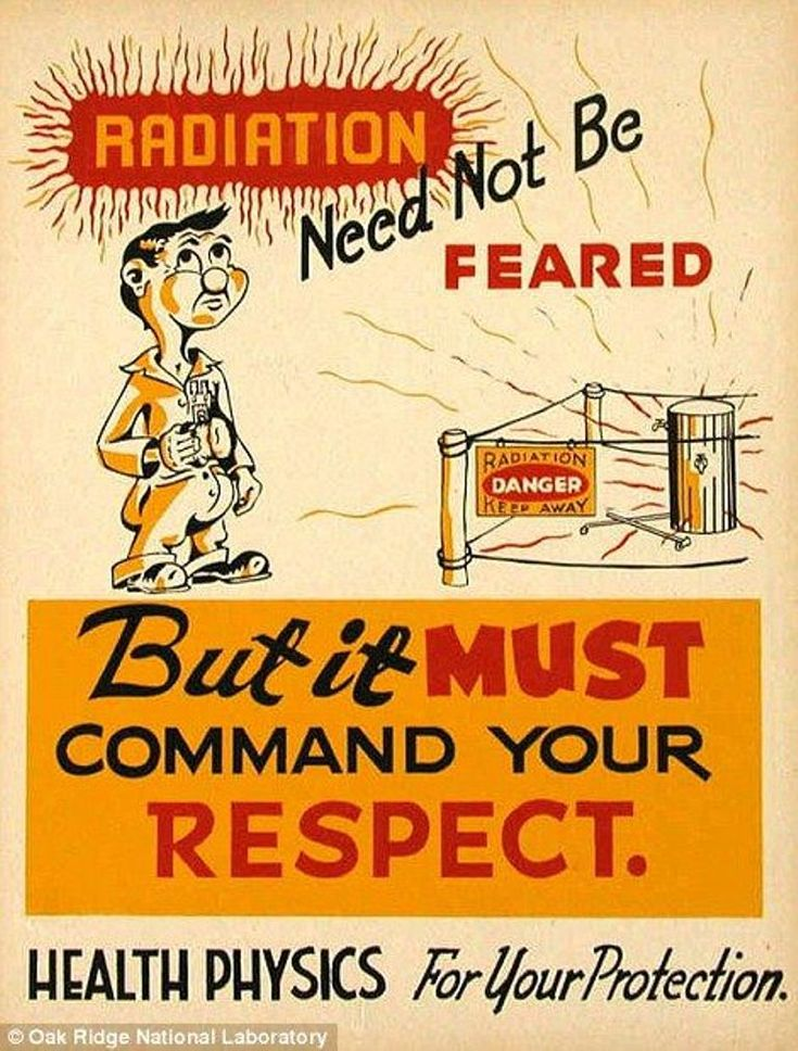 Radiation need not be feared! 1947 Poster and print ad distributed by the Oak Ridge National Laboratory. #vintageads #Ads #vintage #PrintAd #tvads #advertising #BrandScience #influence #online #Facebook #submissions #marketing #advertising