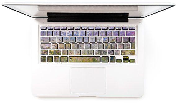 Décalque de clavier MacBook Sticker Decal pour Macbook Pro Macbook Air autocollants Mac Stickers Samsung Asus Lenovo Claude Monet violet Lys