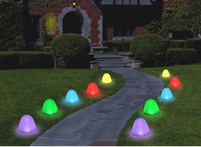 Sugar Coated LED Gumdrop Christmas Pathway Lights - Set of 10 (Each Bulb is 8 Inches Tall and sits flush on any surface !!)