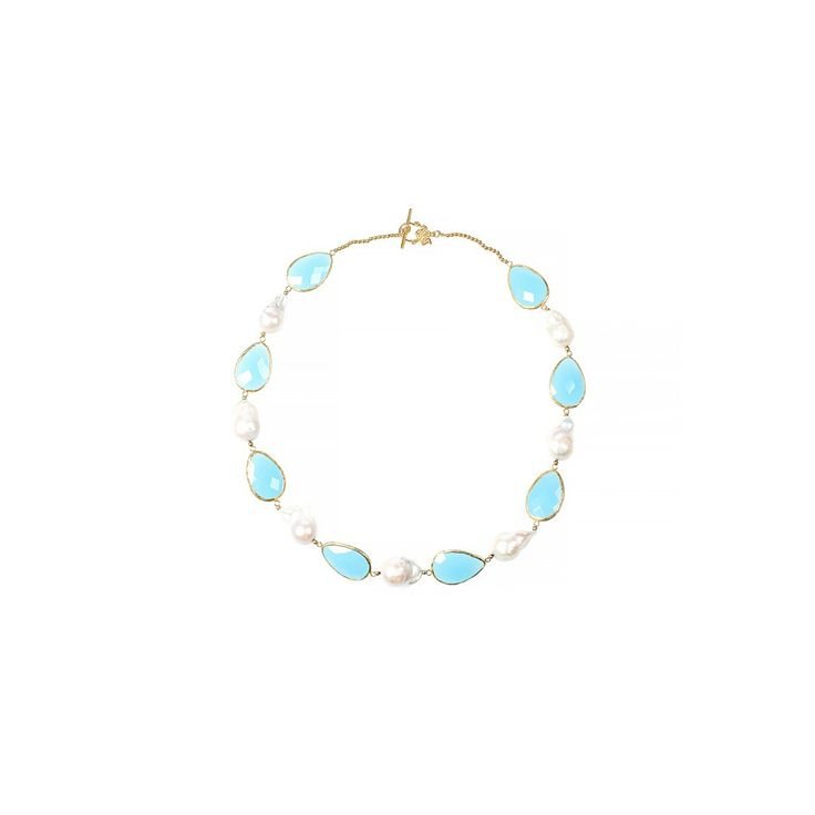 Hydra Baroque Pearl and Stone Necklace Gold Light Blue Chalcedony