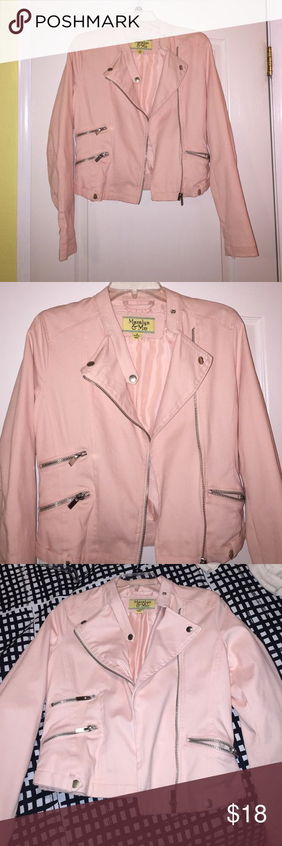 Light Pink motorcycle style jacket Baby pink motorcycle style jacket with silver hardware. Looks great on! Only worn a couple of times. Originally from Jcpenny. jcpenney Jackets & Coats