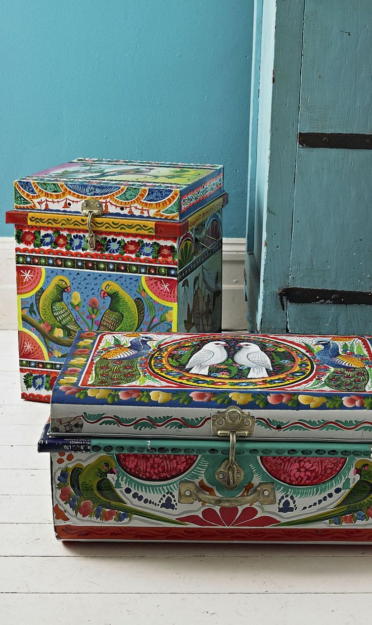 Dowry boxes hand painted in Northern India
