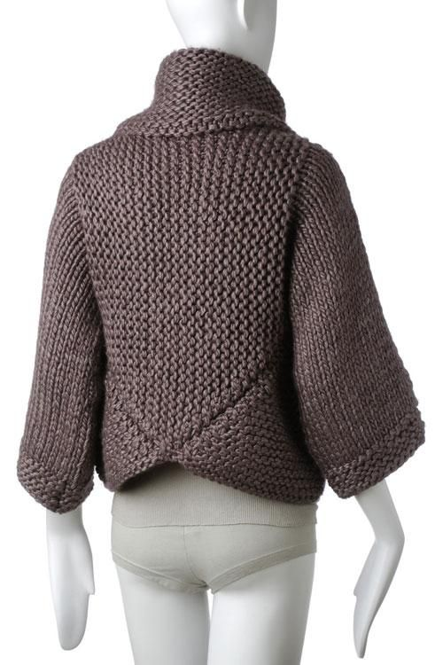 Mitered cardigan back