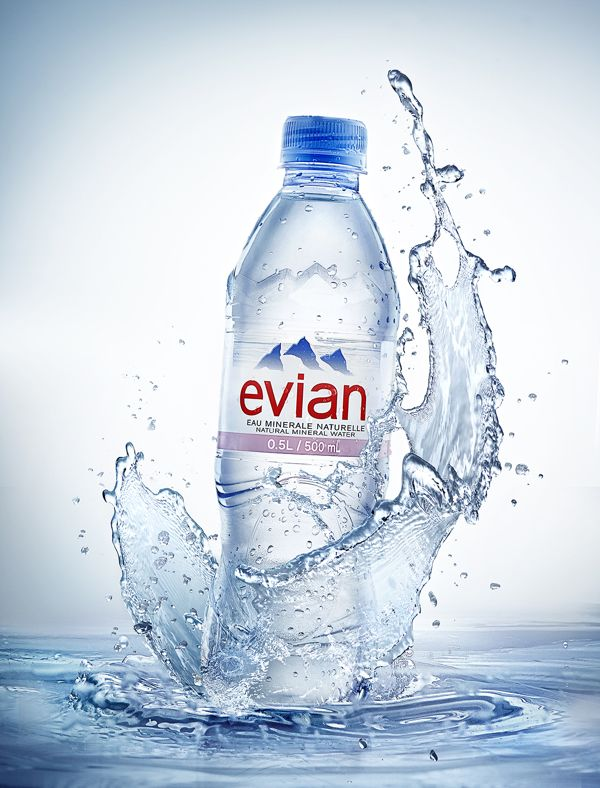 bottled water and evian