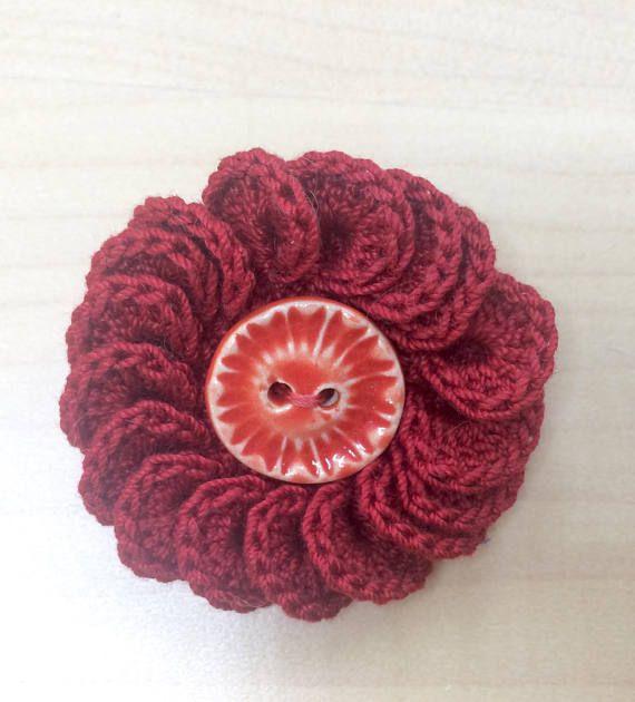 Crochet brooch button brooch crochet pin