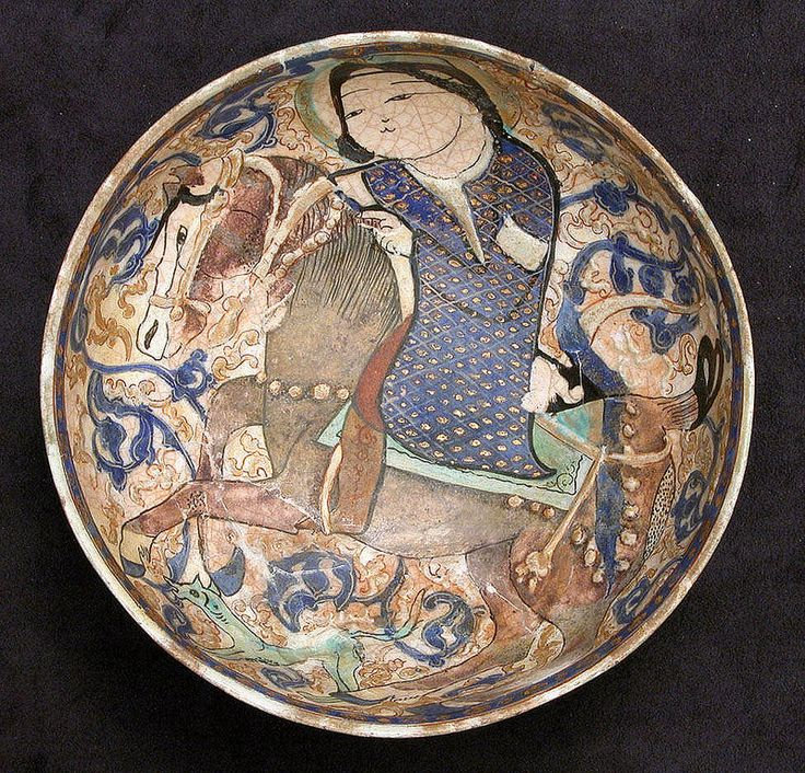 سوار سوار، کاسه سفالی، ایران،ربع آخر قرن 12 یا آغاز قرن 13 میلادی Bowl Date: last quarter 12th– early 13th century Geography: Iran Culture: Iran Medium: Stonepaste; polychrome inglaze and overglaze painted with gilding on opaque white glaze (mina'i) Dimensions: H. 3 1/2 in. (8.9 cm) Diam. 8 1/4 in. (21 cm)