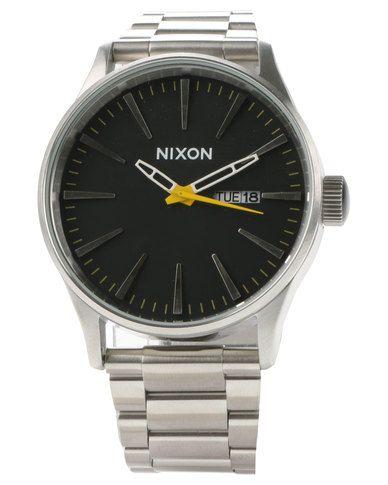 Nixon Sentry Stainless Steel Black Dial Watch Silver