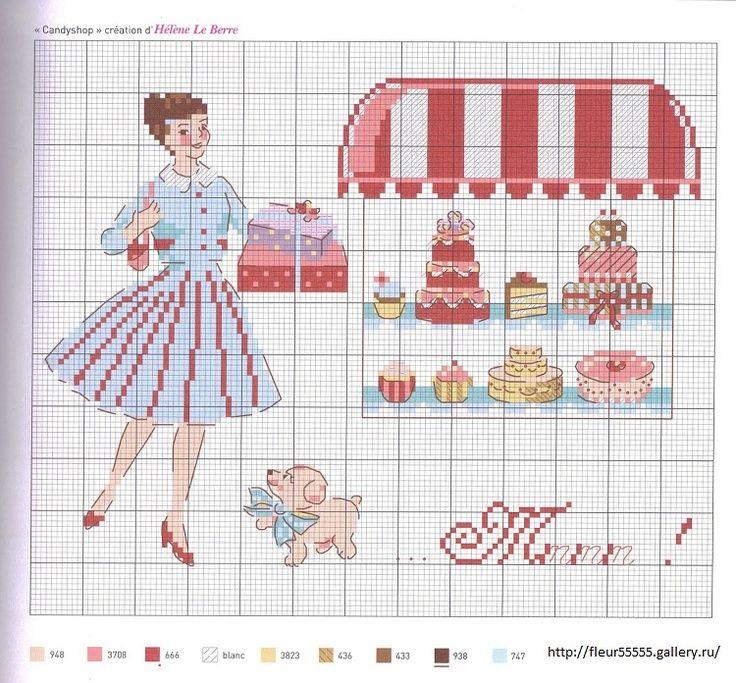 0 point de croix femme achetant des gateaux à la patisserie - cross stitch woman, lady buying cake at the bakery, candyshop