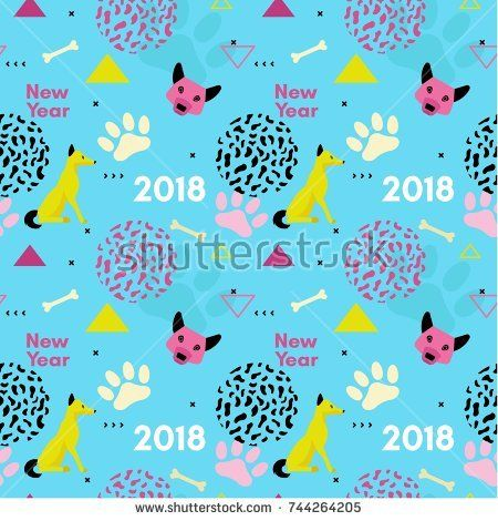 Dog new year seamless pattern in trendy geometric memphis minimal style with vector paw track, animal head silhouette, chinese 2018 calendar template, holiday invitation background