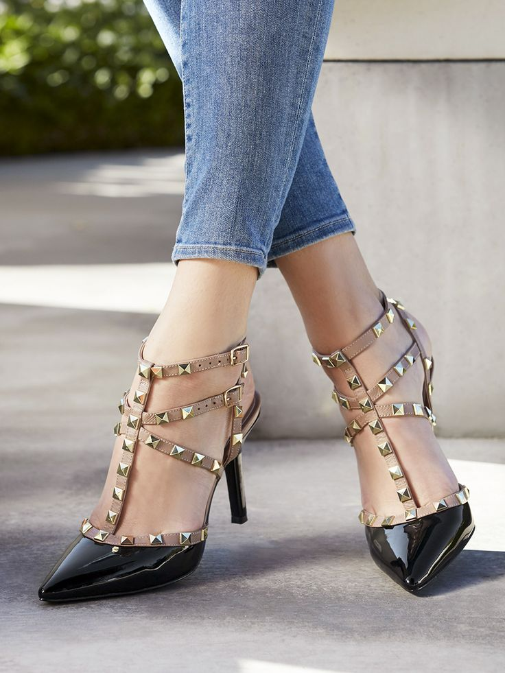 Pointed pumps with studded straps in black & nude patent | Sole Sociey Tiia