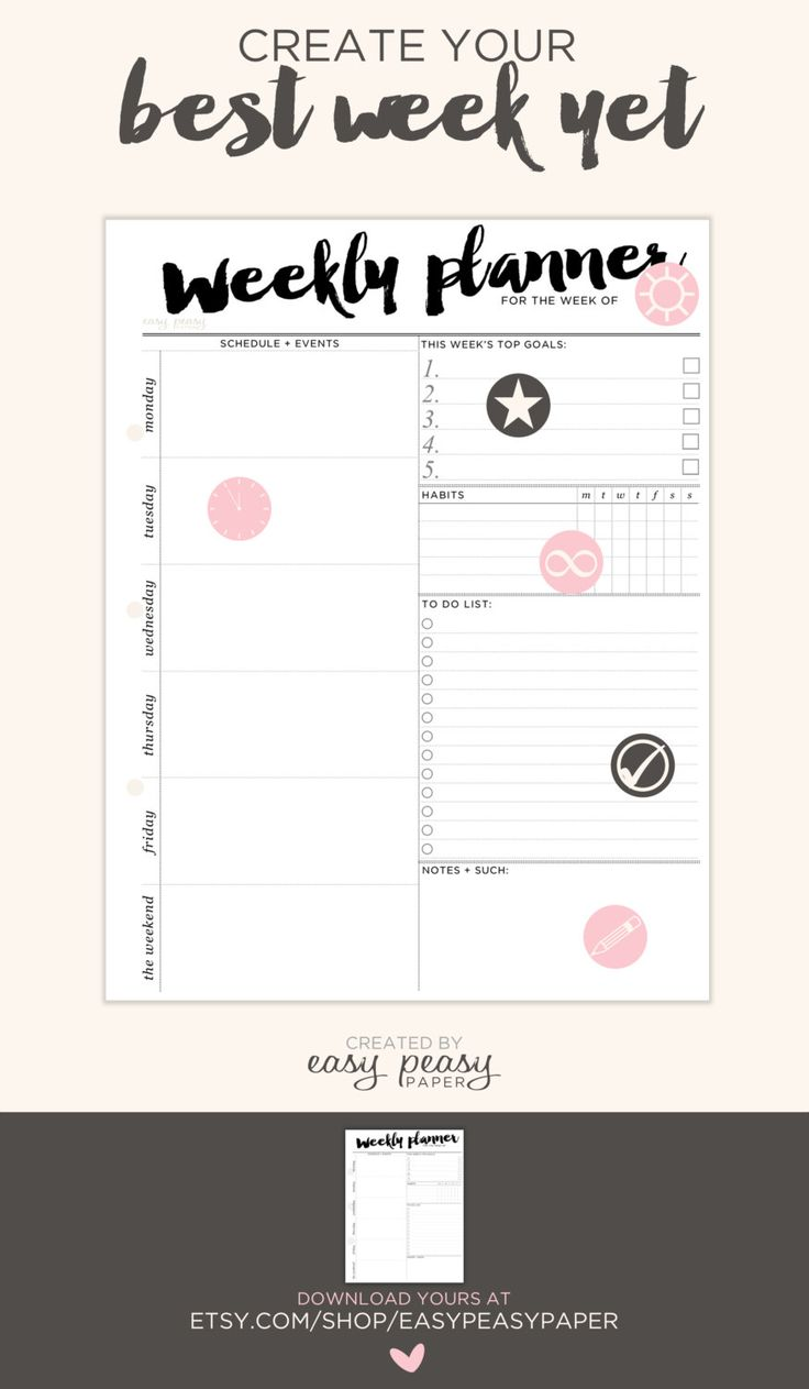 Weekly Planner Printable from EasyPeasyPaper packed full of features //  Perfect for busy times at school. I can keep track of habits, create my routine + accomplish BIG goals