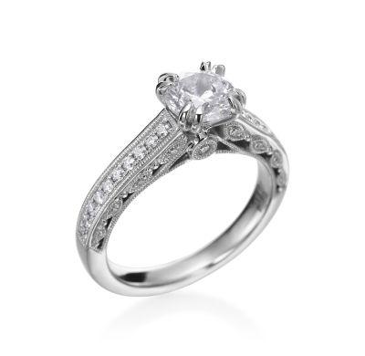Platinum & Channel-Set Diamond Milgrain Setting | www.goldcasters.com