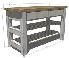 Plans For A Kitchen Island W/ 2 Shelves U0026 2 Drawers. Site Has Building