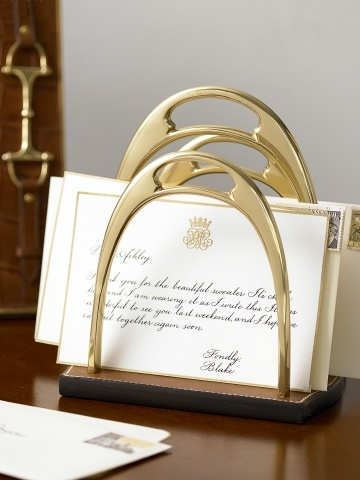 RL Kelvin Stirrup Letter Rack @Rebecca Maupin Make from horseshoes...don't let the luck run out