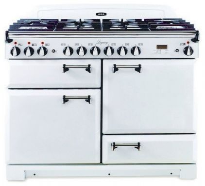 AGA dual fuel range with solid door in vintage white - my dream cooker! Easy to use, best tasting food and creates a cosy kitchen warmth.